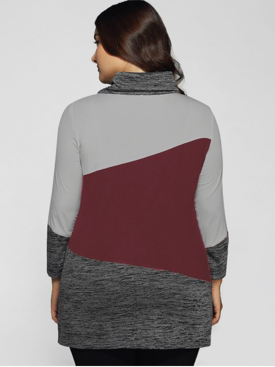 Heathered Cowl Neck Plus Size Blouse - DARK RED 2XL Mobile