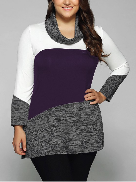 Heathered Cowl Neck Plus Size Blouse - CONCORD 2XL Mobile