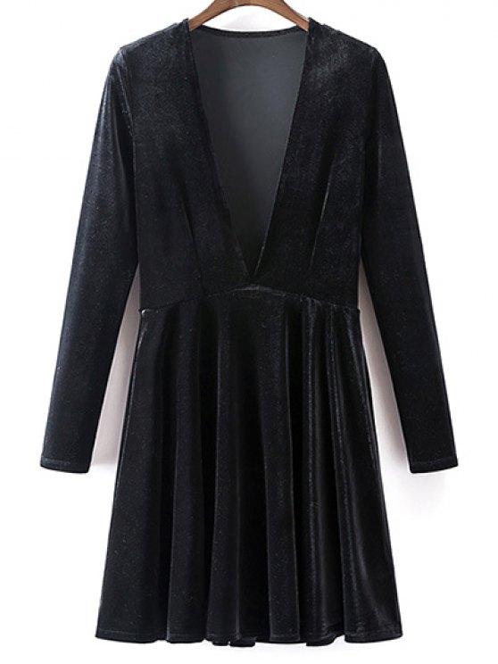 Velvet A-Line Dress - BLACK L Mobile
