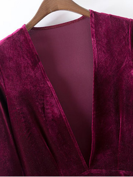 Velvet A-Line Dress - BLACK S Mobile