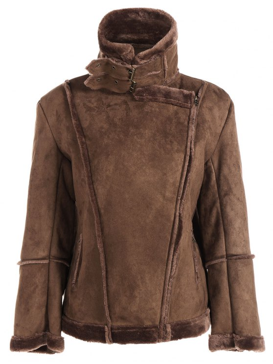 Faux Shearling Jacket - COFFEE XL Mobile