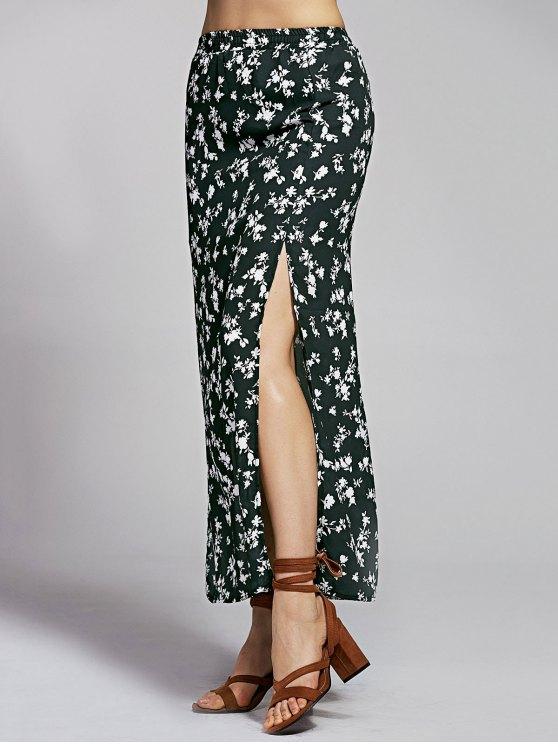 Print High Slit High Waist Floral Skirt - BLACK M Mobile