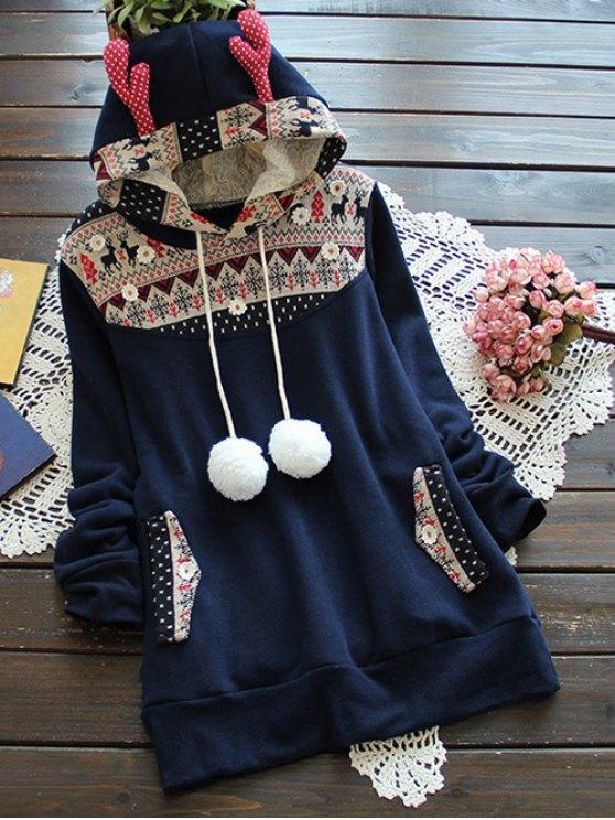 Sweat à capuche  jacquard en laine avec bois de cerf - Bleu Foncé TAILLE MOYENNE