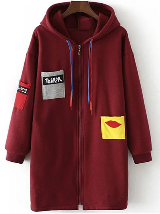Patched Zip-Up Hoodie - CLARET 3XL Mobile