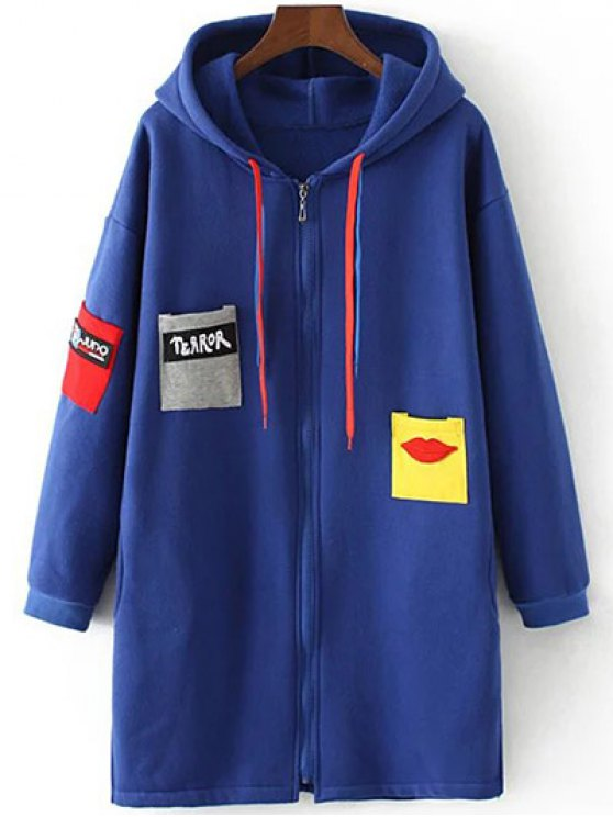 Patched Zip-Up Hoodie - SAPPHIRE BLUE 3XL Mobile