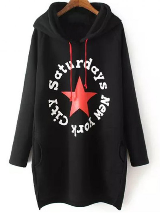 String Letter Hoodie - BLACK 2XL Mobile