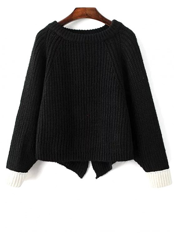 Slit Asymmetric Sweater - BLACK ONE SIZE Mobile
