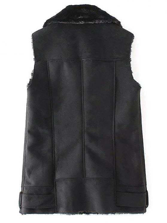 Zip-Up Fuax Suede Waistcoat - BLACK S Mobile