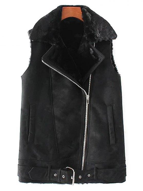 women Zip-Up Fuax Suede Waistcoat - BLACK M