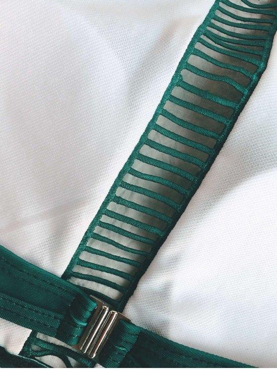 Ladder Crochet High Neck Bikini - GREEN S Mobile