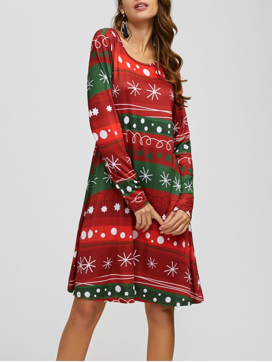 Christmas Snowflake Print A Line Dress - RED AND GREEN ONE SIZE Mobile