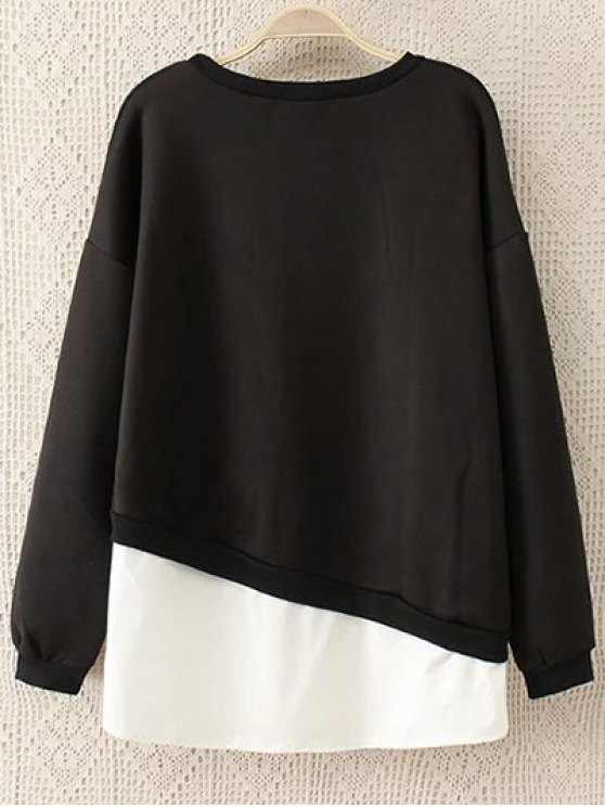 Embroidered Shirt Panel Sweatshirt - BLACK 3XL Mobile