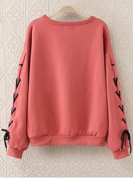 Fleeced Lace Up Sleeve Graphic Sweatshirt - WATERMELON RED 2XL Mobile