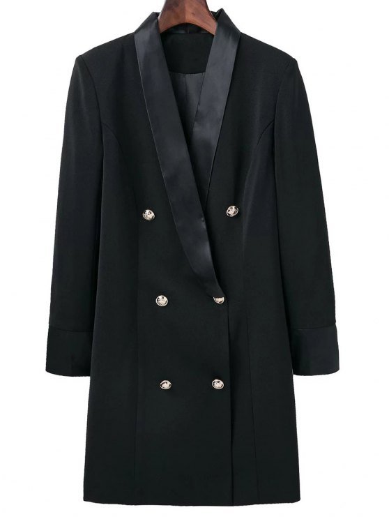 Shawl Neck Work Peacoat - BLACK M Mobile