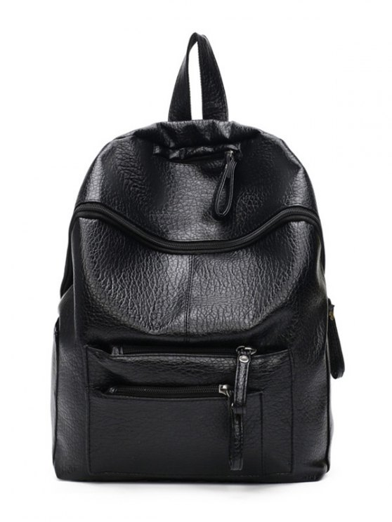 Pockets Zippers Textured Leather Backpack - BLACK  Mobile