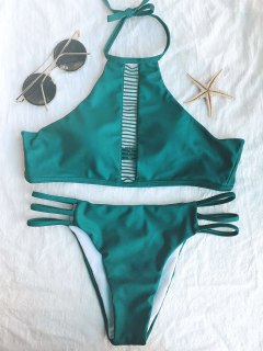 Ladder Crochet High Neck Bikini - Green S