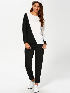Color Block Sweatshirt With Pants Gym Outfit - White And Black S