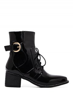 Buckle Patent Leather Combat Boots - Black 38