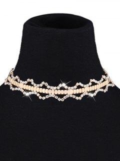 Geometric Rninestone Choker Necklace - Yellow