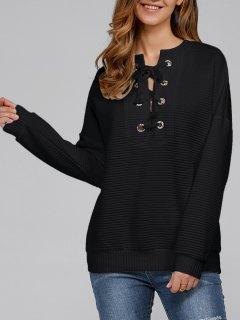 Ribbed Lace Up Sweatshirt - Black M
