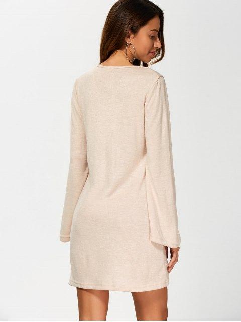 fashion Flared Sleeve Lace Up Knit Dress - KHAKI XL Mobile