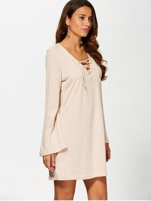 fancy Flared Sleeve Lace Up Knit Dress - KHAKI M Mobile