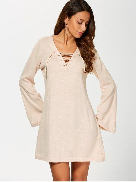 unique Flared Sleeve Lace Up Knit Dress - KHAKI S Mobile