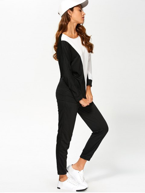 women's Color Block Sweatshirt With Pants Gym Outfit - WHITE AND BLACK M Mobile