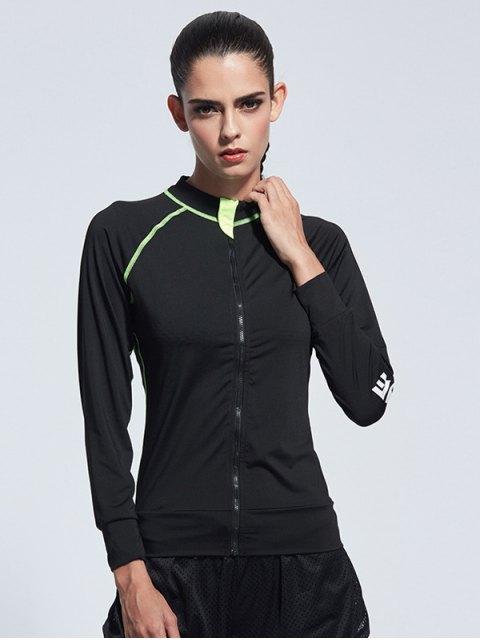 shop Bodycon Zipper Yoga Jacket - BLACK XL Mobile