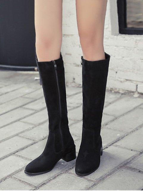 buy Zip Up Chunky Heel Knee High Boots - BLACK 39 Mobile