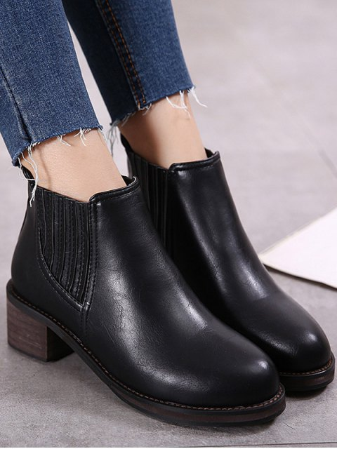new Faux Leather Chunky Heel Ankle Boots -   Mobile