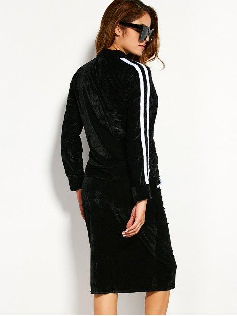 shop Pleuche Jacket With Pencil Skirt - BLACK XL Mobile