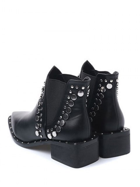 latest Punk Metal Pointed Toe Ankle Boots - BLACK 37 Mobile