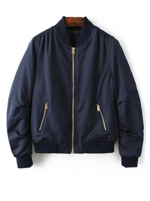 chic Pilot Jacket With Pockets - CADETBLUE S Mobile