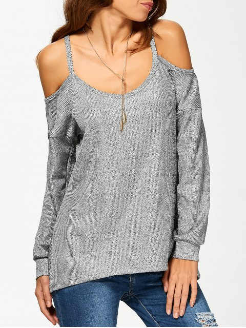 new Cold Shoulder Long Sleeves T-Shirt for Women - GRAY M Mobile