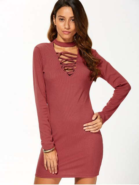 womens Long Sleeve Lace Up Choker Bodycon Dress - RED M Mobile