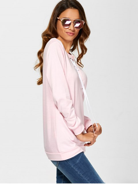 affordable Casual Lace-Up Sweatshirt - PINK L Mobile