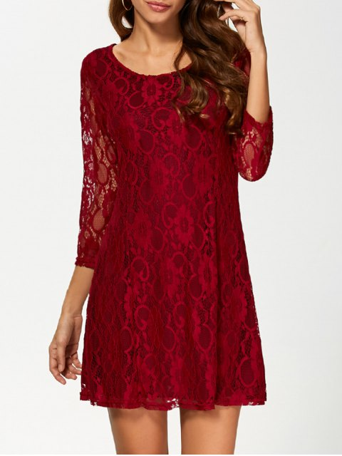 new Short Lace Dress With Sleeves - WINE RED S Mobile