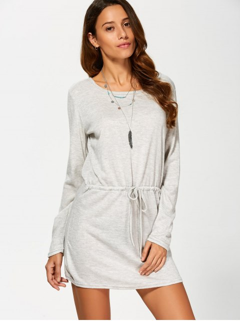 outfit Open Back Drawstring Waist Sweater Dress - GRAY L Mobile