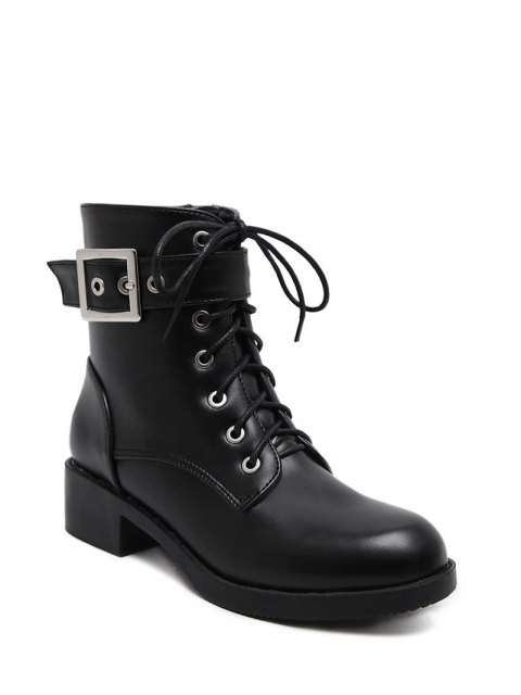 unique Chunky Heel Buckle Strap Combat Boots -   Mobile