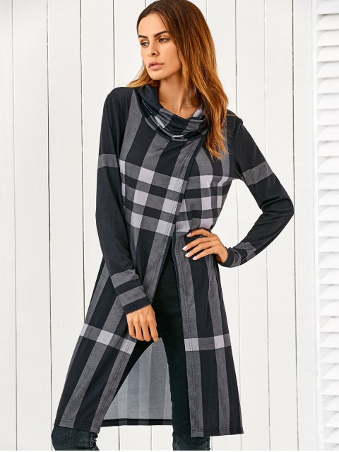 best Front Slit Plaid Cowl Neck T-Shirt - CHECKED M Mobile
