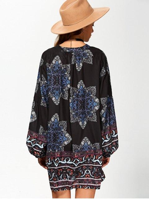new Floral Print V Neck Loose-Fitting Dress - CADETBLUE S Mobile