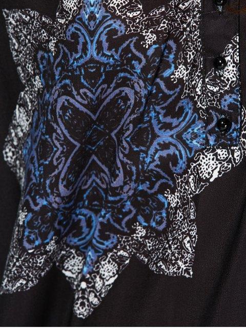 outfit Floral Print V Neck Loose-Fitting Dress - CADETBLUE M Mobile