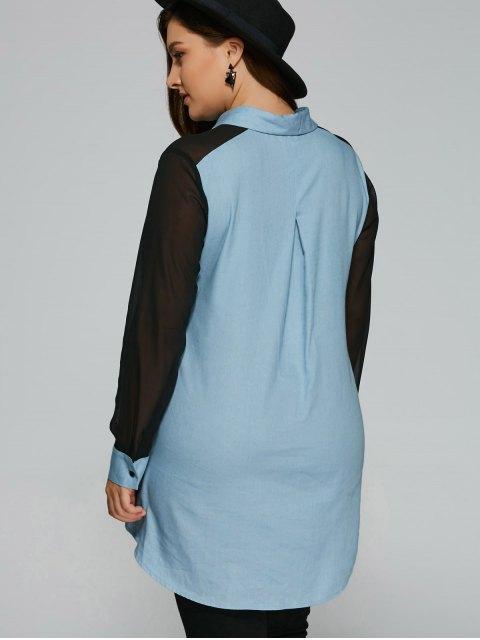 fancy Chiffon Sleeve Denim Plus Size Shirt - DENIM BLUE 3XL Mobile