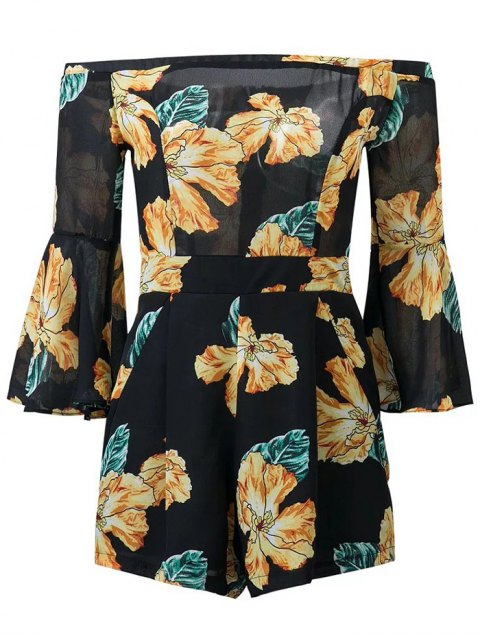 outfits Floral Print Off  Shoulder Romper - BLACK L Mobile