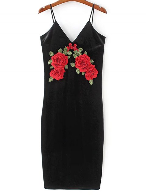 womens Embroidered Velvet Cami Vintage Dresses - BLACK S Mobile