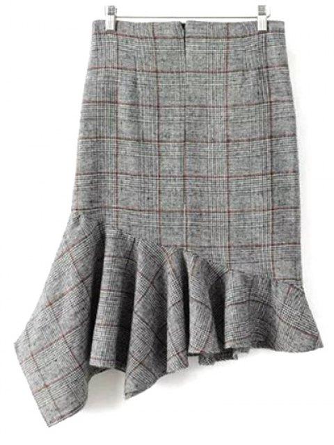 ladies Plaid Tweed Mermaid Skirt - GRAY L Mobile