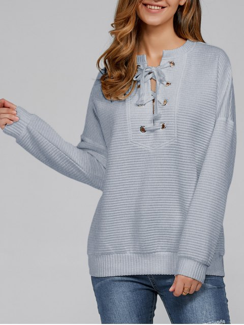 women Ribbed Lace Up Sweatshirt - SMOKY GRAY L Mobile