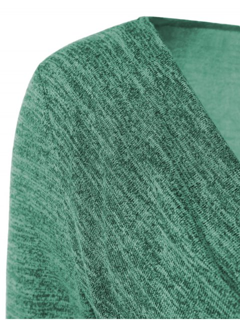 fancy Plus Size Ruched Button Embellished Pullover Top - GREEN XL Mobile
