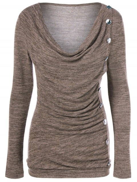 fashion Plus Size Ruched Button Embellished Pullover Top - LIGHT COFFEE XL Mobile